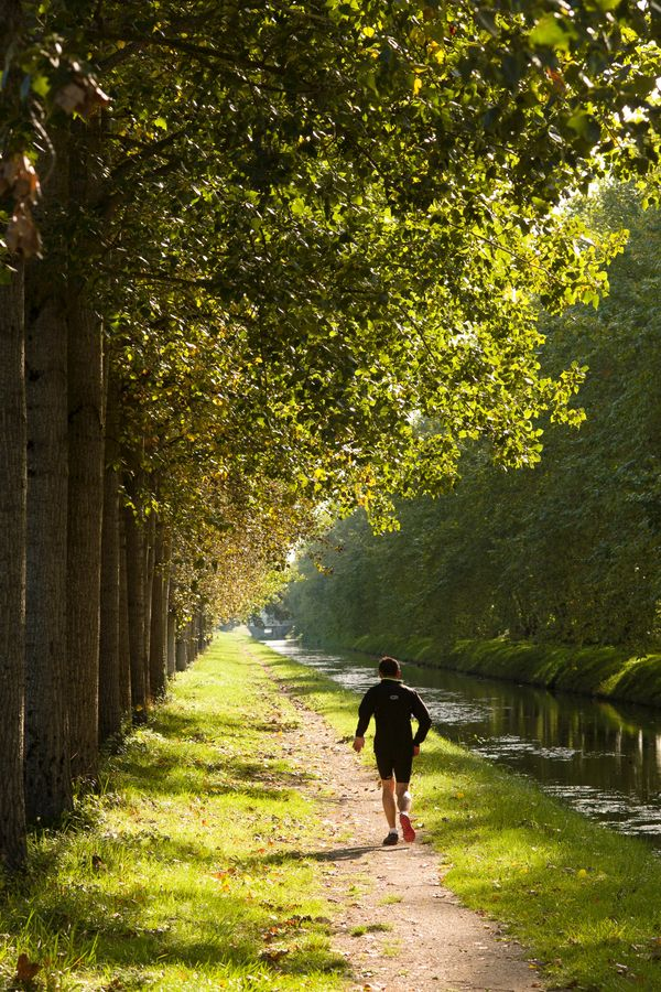 Coureur le long du canal